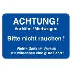 Kundendienst-Etikett ACHTUNG: Vorführ-/Mietwagen... in Spenderbox