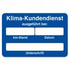"""Kundendienst-Etikett """"Klima-Kundendienst ausgeführt"""" in Spenderbox"""