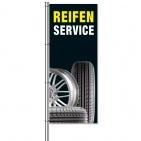 Fahne Reifenservice Motiv mit Fotos von Reifen und Felgen