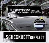 Autodachschilder XXL mit Werbetext: Scheckheftgepflegt