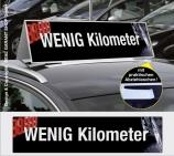 Autodachschilder XXL mit Werbetext: wenig Kilometer