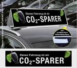 Autodachschilder XXL mit Werbetext: CO2-Sparer