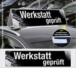Autodachschilder XXL mit Werbetext: werkstattgeprüft