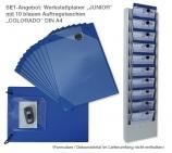Plantafel-Set:JUNIOR Plantafel + 10 Auftragstaschen Colorado in blau im Set