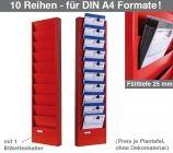 Plantafel JUNIOR: für DIN A4 Auftragstaschen, 10 Reihen Fülltiefe 25 mm