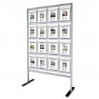 Infoständer 16/32-A4 mit 16 Acryltaschen im Hochformat: für max. 32 Infoblätter