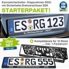 Kennzeichenhalter Klapprahmen-RGS: 10er Set, SDK-Verschluß