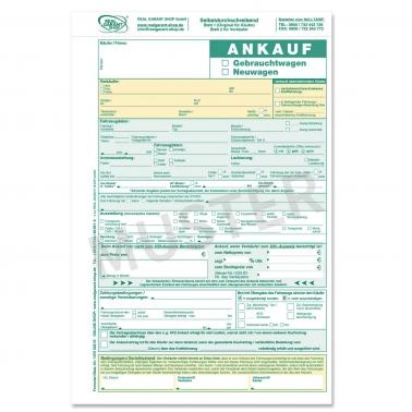 Ankaufvertrag KFZ für Gebrauchtwagen oder Neuwagen, 2-fach