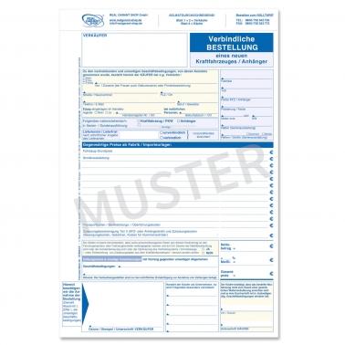 Verbindl. Bestellung für Neuwagen / neue KFZ: Formular 3-fach