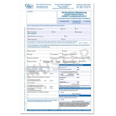 Agenturauftrag KFZ für Vermittlungsgeschäft Gebrauchtwagen