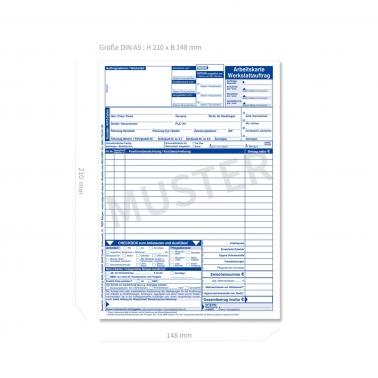 Werkstattauftrag KFZ Arbeitskarte mit AW-Erfassung,  DIN A5