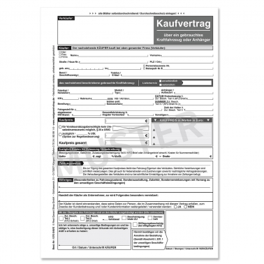 Kaufvertrag KFZ für gebrauchte Kraftfahrzeuge / Anhänger