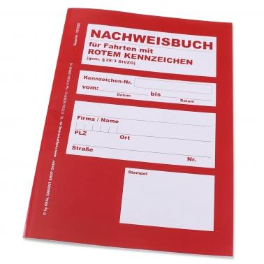 Nachweisbuch DIN A4 für Fahrten mit rotem Kennzeichen