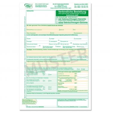 verbindl. Bestellung für Gebrauchtwagen mit/ohne GW-Garantie