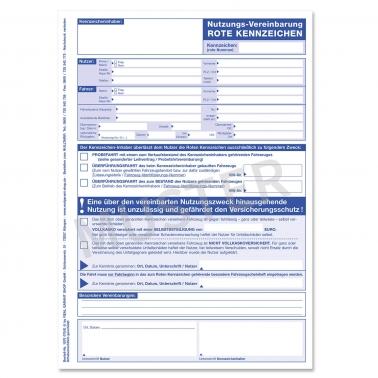 Nutzungsvereinbarung für Fahrten mit roten Kennzeichen