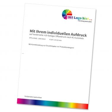 Briefbögen DIN A4 mit Individualdruck, 4/0-farbig bedruckt