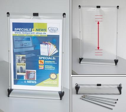 Roll-up Display A3 Präsenter für Infoblätter bis DIN A3