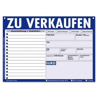 Verkaufsschilder KFZ Zu Verkaufen: 15 Zeilen für Zubehör