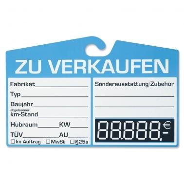 KFZ-Verkaufsschilder LCD-Zahlen: mit Haken für Innenspiegel