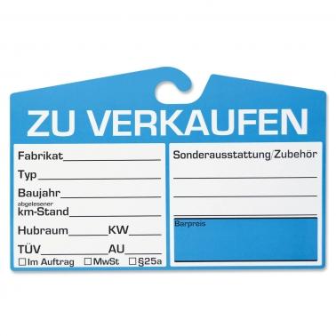 Verkaufsschilder KFZ mit Haken für Spiegelbefestigung