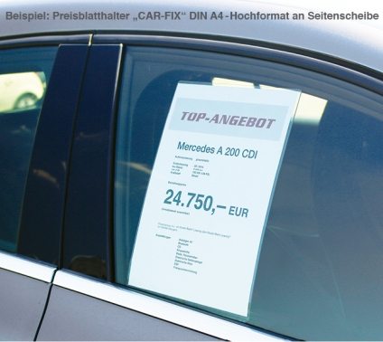 """Preisblatthalter A4 Hoch """"CAR-FIX"""" für Front-& Seitenscheibe Blatteinschub oben"""