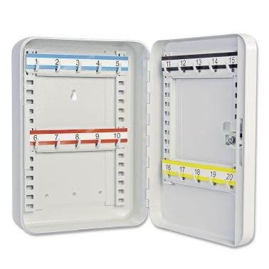 Schlüsselkassette mit 20 Haken: Hakenleisten verstellbar nummeriert: 1-20