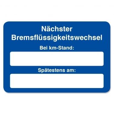 """Kundendienst-Etikett """"nächster Bremsflüssigkeitswechsel"""" in Spenderbox"""