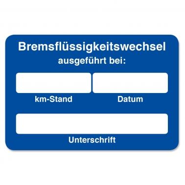 Kundendienst-Etikett Bremsflüssigkeitswechsel ausgeführt