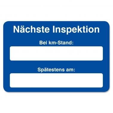Kundendienst-Etikett nächste Inspektion bei km-Stand: in Spenderbox