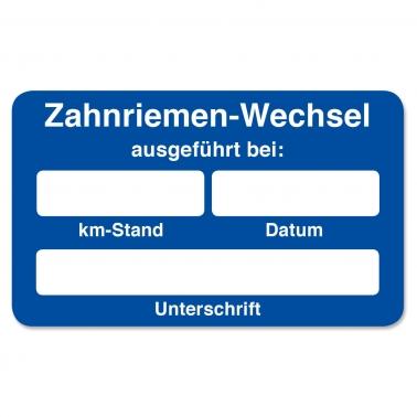 """Kundendienst-Etikett """"Zahnriemenwechsel ausgeführt bei.."""" in Spenderbox"""