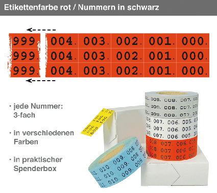 Nummernetiketten Trio: Nr. 000 bis 999, jede Nr. 3-fach