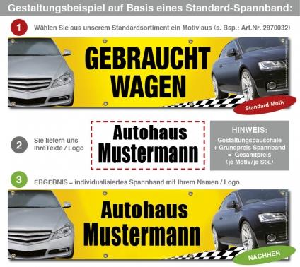 Gestaltungspauschale Standard- Spannband aus Sortiment mit Ihrem Text/Logo