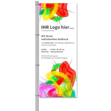 Fahnen Individual aus Glanzpolyester, Individualdruck, H 400 x B 150 cm