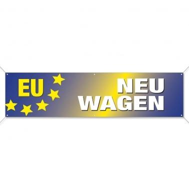Spannband EU-Neuwagen, Werbebanner EU-Fahrzeuge im modernen Design