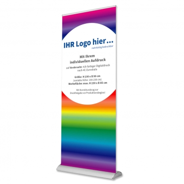 Roll-Up-Display B90: mit Ihrem Design: Höhe 190 cm bis 230 cm