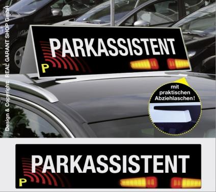Autodachschilder XXL mit Werbetext: Parkassistent