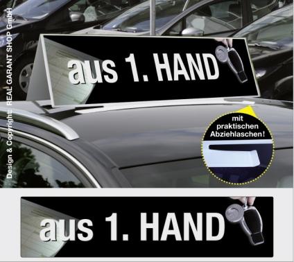 Autodachschilder XXL mit Werbetext: aus 1. Hand