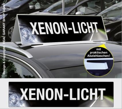 Autodachschilder XXL mit Werbetext: Xenon-Licht
