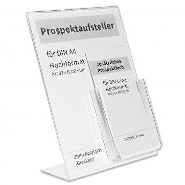 Prospektaufsteller Twin: L-Aufsteller A4 mit Prospektfach DIN lang