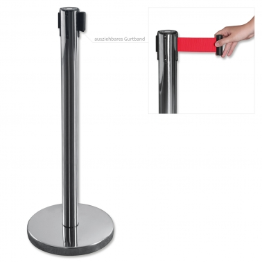 Absperrpfosten mit Aufrollautomatik, Gurtband: 1900 mm