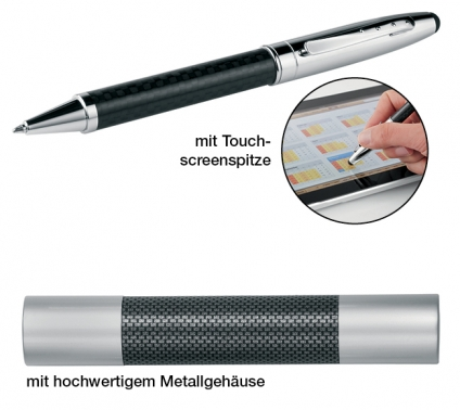 Kugelschreiber Carbon-Speed: mit Carbonapplikationen und Großraummine
