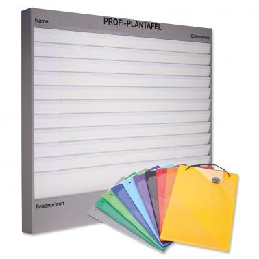 Plantafel-Set Profi: 11 Reihen (A4) + 50 Mappen in 10 Farben