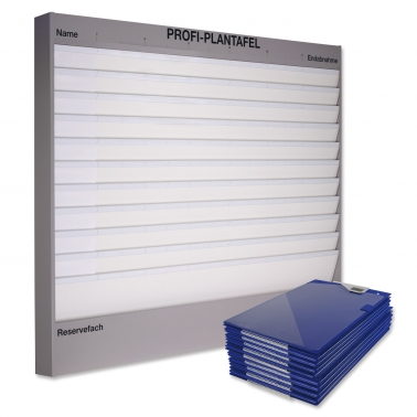 Plantafel-Set Profi: 11 Reihen A4 + 50 Auftragstaschen (blau)