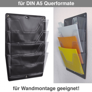 Office-Box 4 Fächer für DIN A5 Querformat, zur Wandmontage