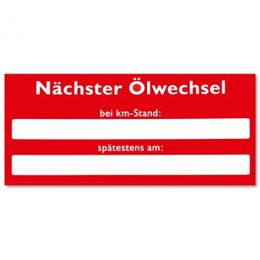 Serviceaufkleber Nächster Ölwechsel bei km-Stand / Datum spätestens am...