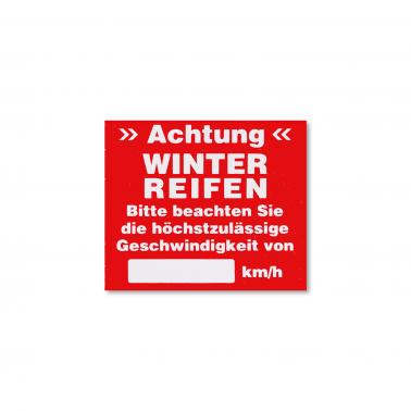 Serviceaufkleber Winterreifen: Höchstgeschwindigkeit beachten!