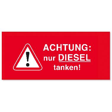 Serviceaufkleber nur Diesel tanken! Tankdeckelaufkleber
