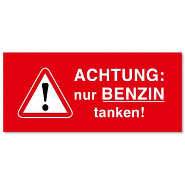 Serviceaufkleber nur Benzin tanken! Tankdeckelaufkleber selbstklebend