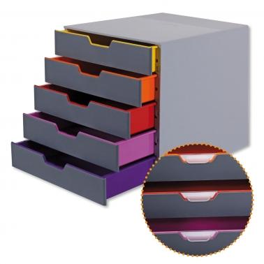 Schubladenbox Desk: Korpus mit 5 farbigen Schubladen