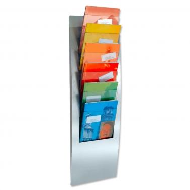 Prospekthalter FLEX 6: mit 6x DIN A4 Prospektfächer zur Wandmontage